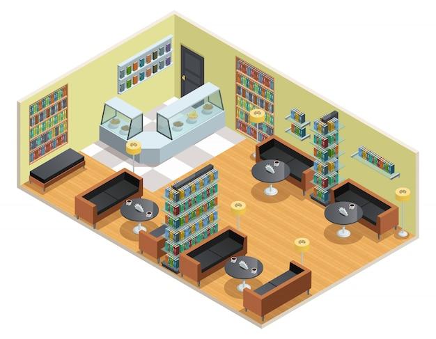 Diseño isométrico en color del interior de la biblioteca. vector gratuito