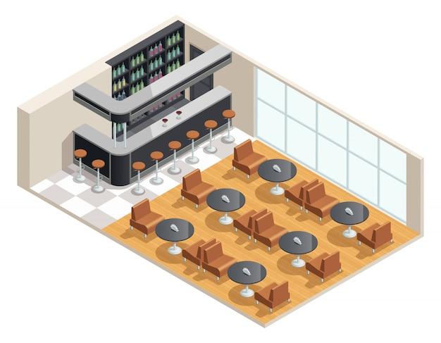 Diseño isométrico en color del interior del café con mesa de bar. vector gratuito