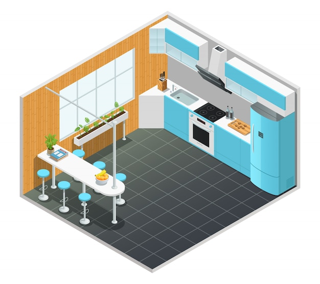 Diseño isométrico en color del interior de la cocina con mesa alta y electrodomésticos, ilustración vectorial vector gratuito