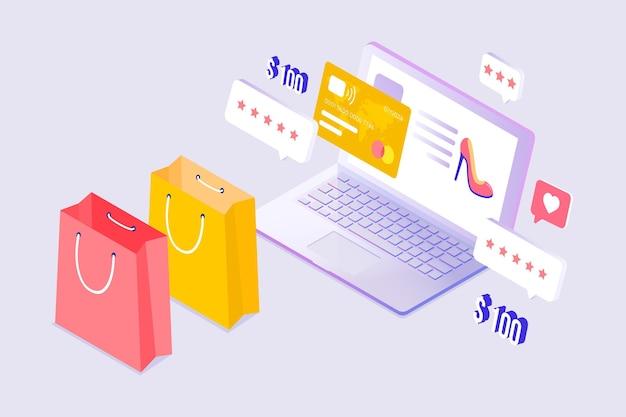 Diseño isométrico de comercio electrónico vector gratuito
