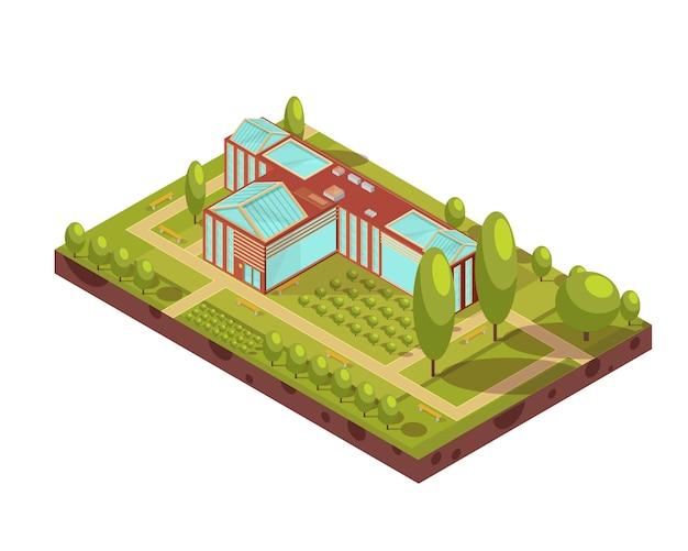 Diseño isométrico del edificio de la universidad roja con bancos de árboles de techo de vidrio verde y pasillos ilustración vectorial 3d vector gratuito