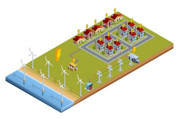 Diseño isométrico de la estación de generación de energía eléctrica vector gratuito