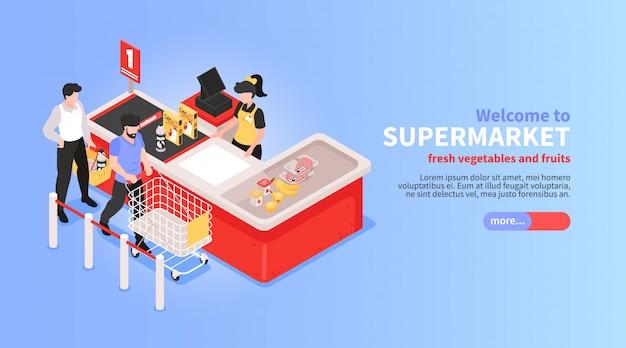 Diseño isométrico horizontal del sitio web del supermercado con verduras en línea, frutas, supermercado, canasta de oferta, clientes, símbolos de pago vector gratuito