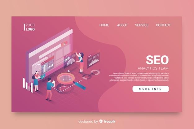 Diseño isométrico de la página de inicio de seo vector gratuito