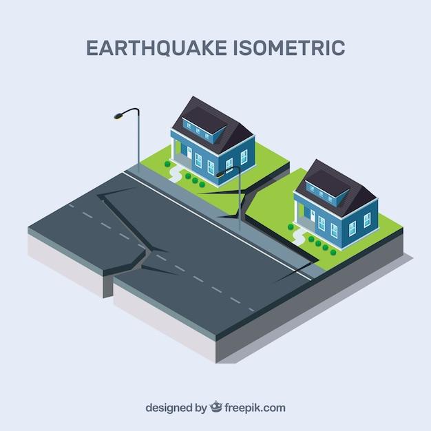 Diseño isométrico con terremoto en calle vector gratuito