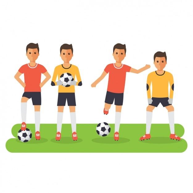 Diseño de jugadores de fútbol vector gratuito