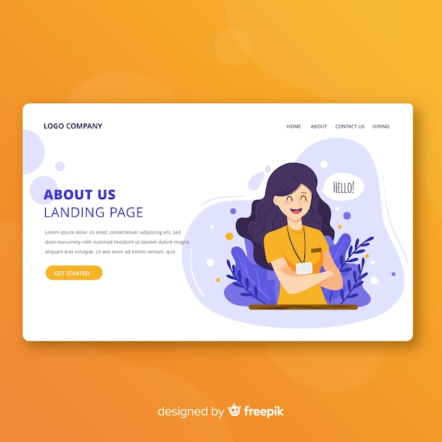 Diseño de landing page sobre nosotros vector gratuito