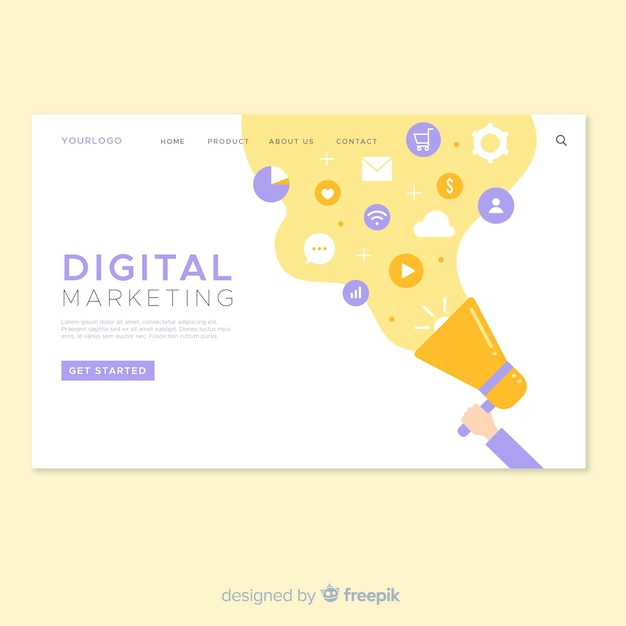 Diseño de landing page para web de marketing digital vector gratuito