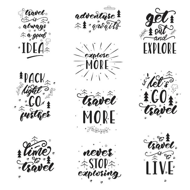 Diseño De Letras Con Frases De Viaje Vector Premium