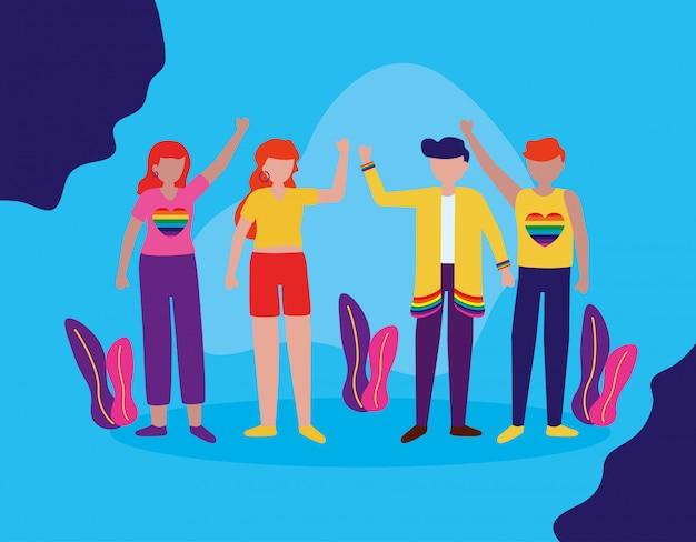 El diseño lgbtq de la comunidad queer vector gratuito