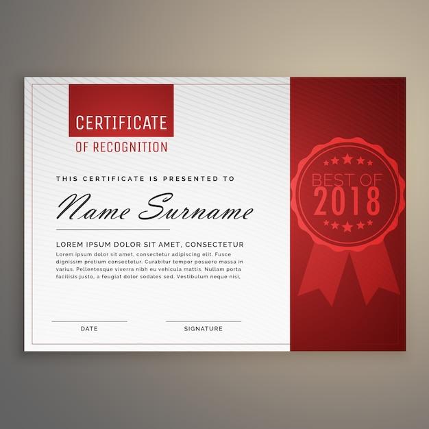 Diseño limpio y moderno de certificado rojo y blanco ...