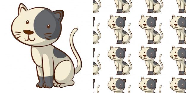 Diseño con lindo gato de patrones sin fisuras vector gratuito