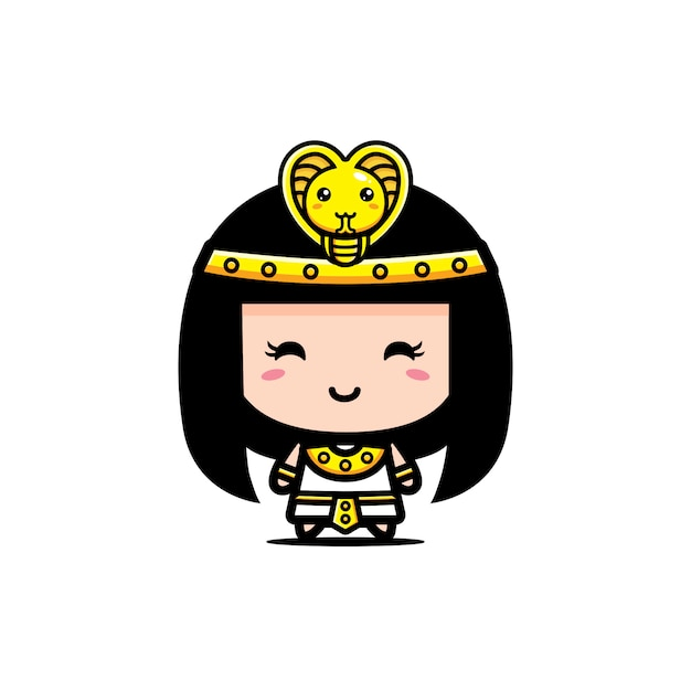 Diseño lindo del personaje de la reina de cleopatra Vector Premium