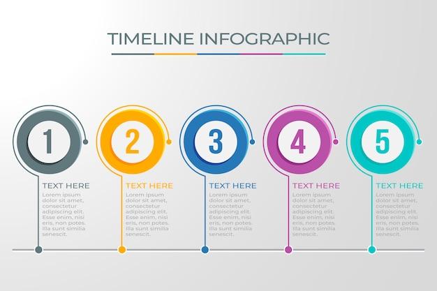Diseño de línea de tiempo de infografía de puntos circulares Vector Premium
