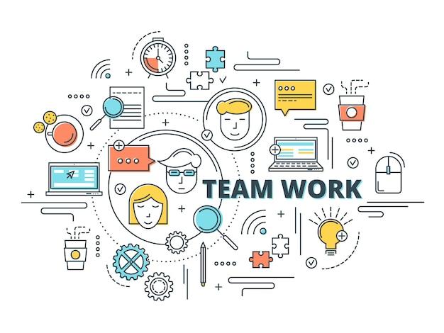 Diseño lineal de trabajo en equipo vector gratuito