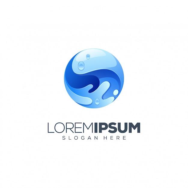 Diseño de logo de agua Vector Premium