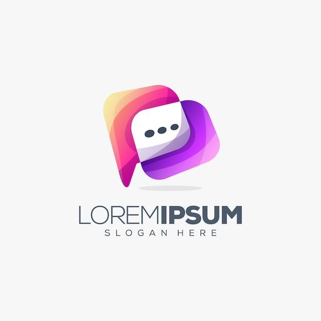 Diseño de logo de chat Vector Premium