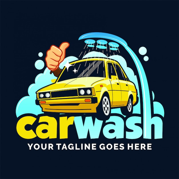 Diseño de logo de lavado de autos inspirado Vector Premium