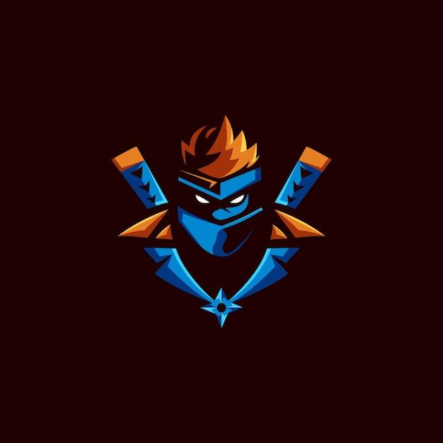 Diseño de logo de ninja esports Vector Premium