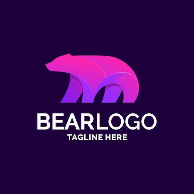 Diseño de logo de oso Vector Premium
