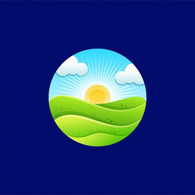 Diseño de logo sunrise Vector Premium