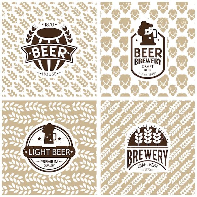 Diseño de logos y emblemas de cervecería. vector gratuito