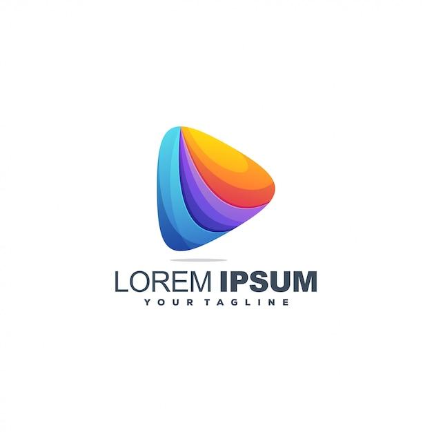 Diseño de logotipo abstracto color triángulo Vector Premium