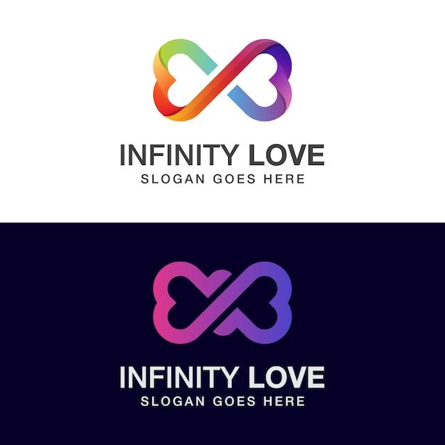 Diseño de logotipo de amor infinito de color degradado con dos versiones Vector Premium