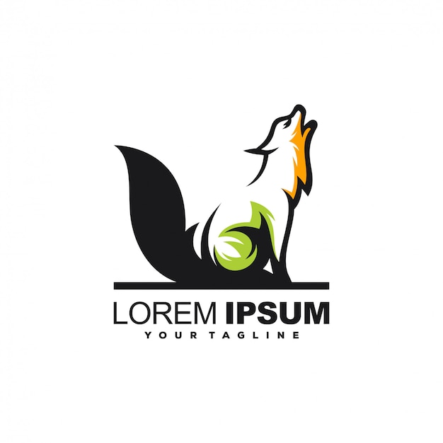 Diseño de logotipo animal lobo Vector Premium