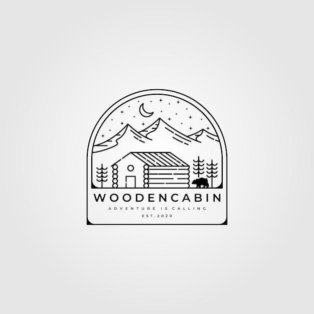 Diseño de logotipo de arte de línea de cabina de madera Vector Premium