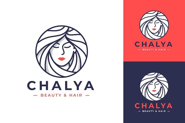 Diseño de logotipo de arte de línea de mujeres de belleza con tres opciones de color Vector Premium