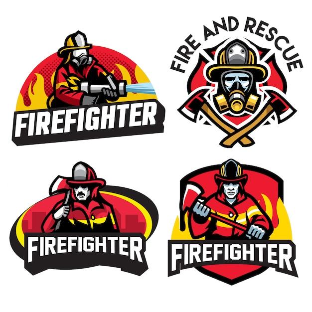 Diseño de logotipo de bombero Vector Premium