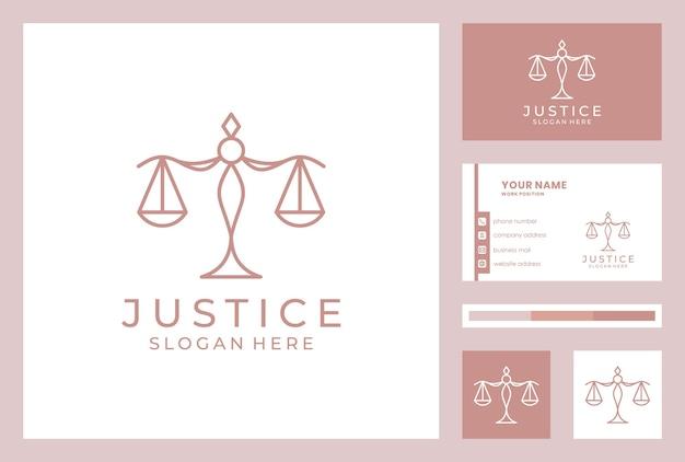 Diseño de logotipo de bufete de abogados con plantilla de tarjeta de visita. Vector Premium