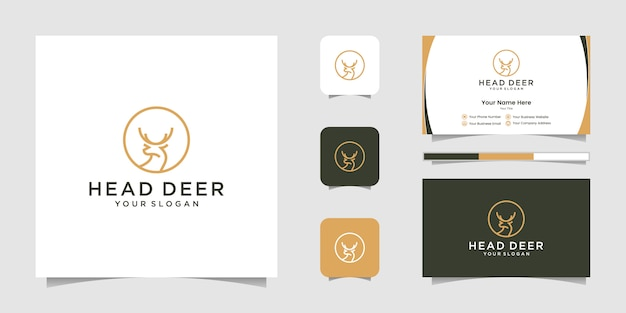 Diseño de logotipo de cabeza de ciervo con logotipo de estilo de arte lineal y tarjeta de visita Vector Premium