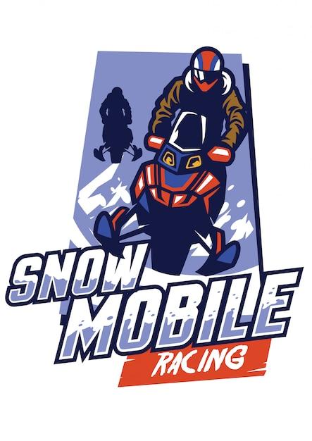 Diseño de logotipo de carreras de motos de nieve Vector Premium