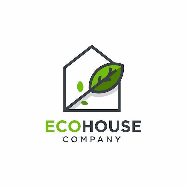 Diseño de logotipo de casa verde Vector Premium