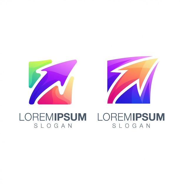 Diseño de logotipo de color de flecha Vector Premium