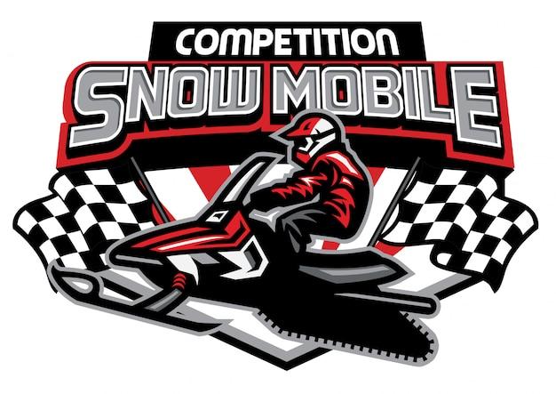 Diseño de logotipo de competición de motos de nieve Vector Premium
