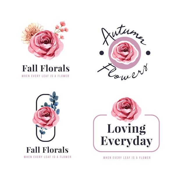Diseño de logotipo con concepto de flor de otoño para marca y marketing ilustración acuarela. vector gratuito