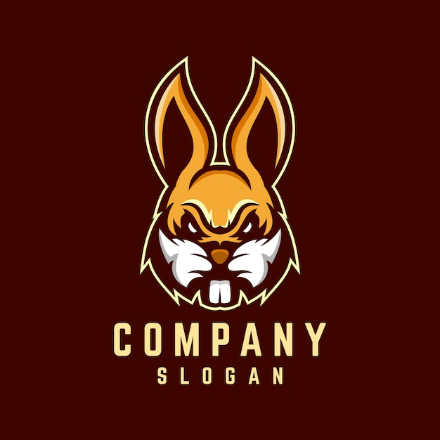 Diseño de logotipo de conejo Vector Premium