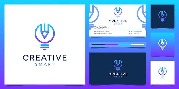 Diseño de logotipo creativo y tarjeta de visita. lápiz y bombilla degradada moderna con estilo de revestimiento Vector Premium