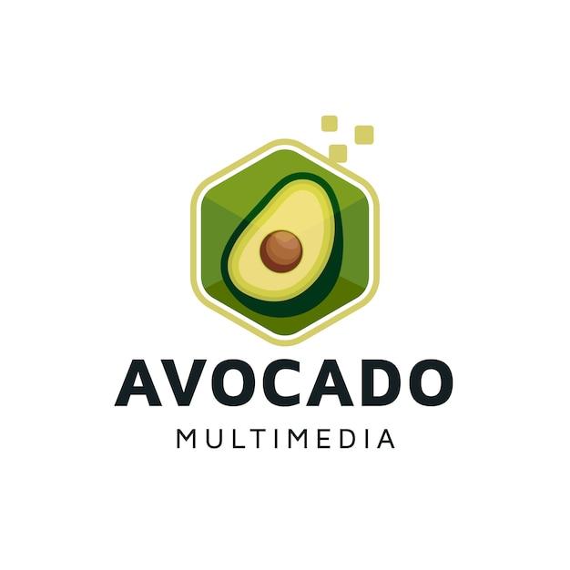 Diseño de logotipo de cubo digital de aguacate Vector Premium