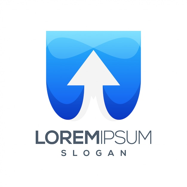 Diseño de logotipo degradado colorido flecha Vector Premium