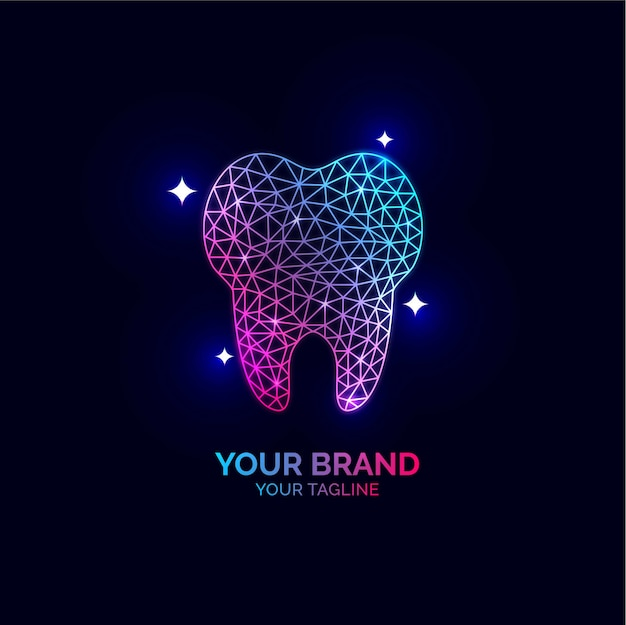 Diseño de logotipo dental para instituciones de atención y tratamiento de dentistas. Vector Premium