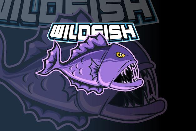 Diseño de logotipo de deporte de mascota de pez salvaje Vector Premium