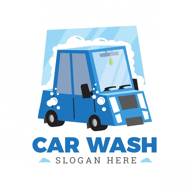 Diseño de logotipo de dibujos animados de lavado de coches Vector Premium