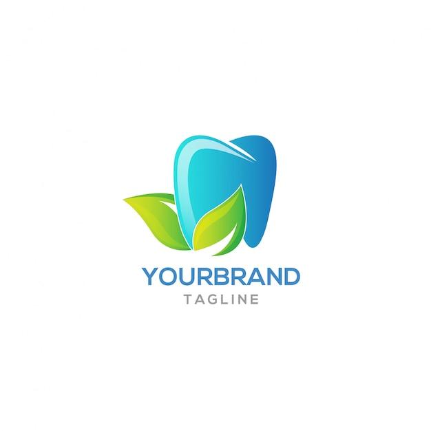Diseño de logotipo de diente fresco Vector Premium