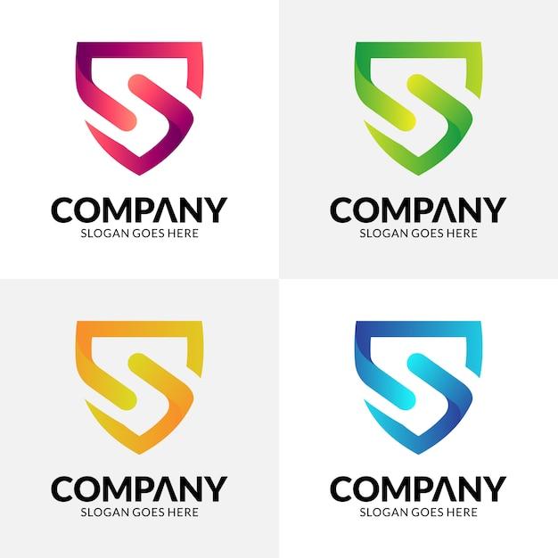 Diseño de logotipo escudo letra s Vector Premium