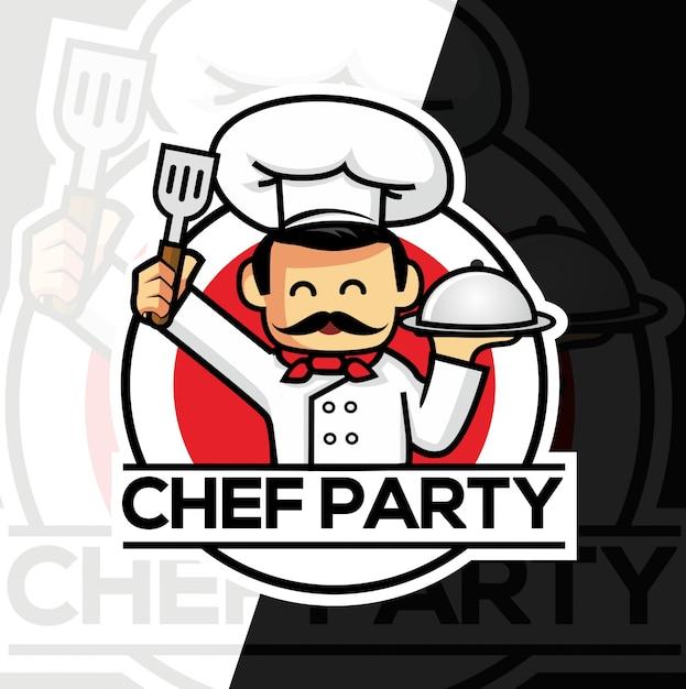 Diseño de logotipo de estilo de deporte de mascota de chef Vector Premium