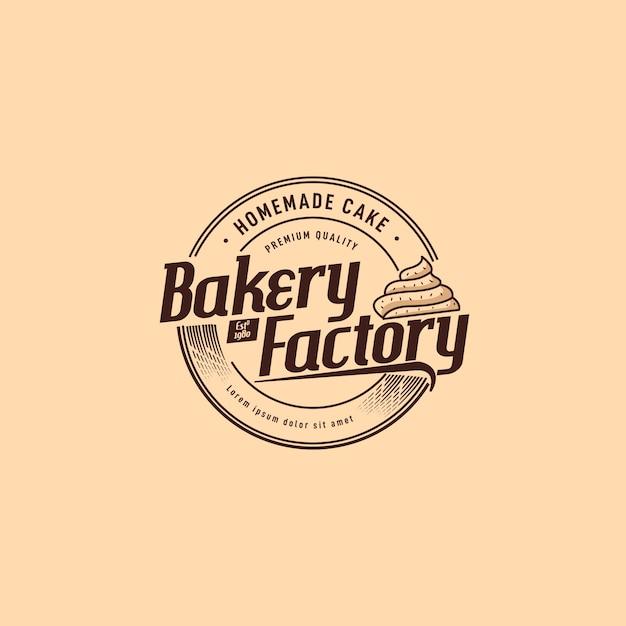 Diseño de logotipo de fábrica de panadería Vector Premium